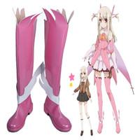 özel yapılmış cosplay botları toptan satış-COS Güzel Pembe Japon Anime Puella Magi Kader / kaleid Astar Cosplay Ayakkabı Çizme Cosplay Aksesuarları Custom Made Sevimli