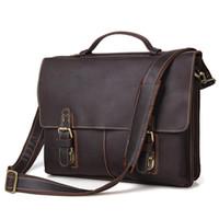 Wholesale Free Business Promotions - Wholesale- Promotion Free Shipping Vintage 100% Genuine Leather Jmd Men Briefcase Portfolios Office Bags Business Bag Messenger 7090R