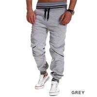 siyah beyaz erkek pantolonu toptan satış-Wholesale-2016 gündelik erkek joggers splice spor koşu pantolon yeni adam hip hop uzun pantolon Koşu Sweatpants pantalon homme beyaz siyah