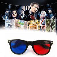 Wholesale Tv Mirror Glasses - Universal 3D Glasses Red Blue Cyan Black Frame Movie TV Computer Game DVD Vision Cinema Anaglyphic 3D Plastic Glasses YYA689