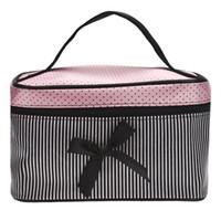 bolsa para sujetadores al por mayor-El precio más bajo de la bolsa de las mujeres Square Bow Raya Cosmetic Bag Big Lingerie sujetador ropa interior Dot Bags Travel Bag kits de aseo Sac