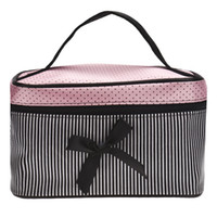Wholesale Wholesale Bra Prices - Lowest Price Women's Bag Square Bow Stripe Cosmetic Bag Big Lingerie Bra Underwear Dot Bags Travel Bag toiletry kits Sac