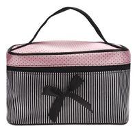 grandes sutiãs de lingerie venda por atacado-Menor Preço Saco das Mulheres Quadrado Bow Stripe Cosméticos Bag Lingerie Grande Sutiã Cueca Dot Sacos de Viagem saco de higiene kits