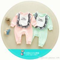 Wholesale Korean Bib - INS Korean styles new arrivals fall baby kids climbing romper 100% cotton letter print long sleeve with bib girl boy autumn rompers