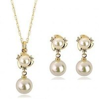 Wholesale Temperament Queen Necklace - Noble temperament of the queen High quality flowers pearl earrings necklace jewelry sets - G099