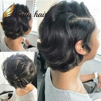 bob saç modelleri peruk toptan satış-Kısa Kıvırcık Dantel Ön Bob Kesim Saç Modelleri İnsan Saç Siyah Kadınlar Için Tam Dantel Peruk BellaHair