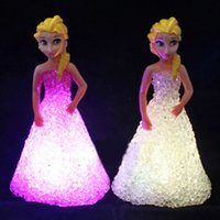 Wholesale Gradient Night Light - Wholesale- New Kids Toys Elsa  Anna LED Colorful Lights gradient crystal Night Light Led Lamp with battery toy christmas holiday gift