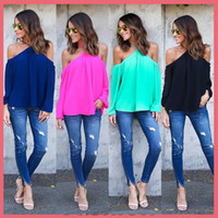 Wholesale Georgette Shirts - 2016 Spring Summer New Fashion Clothing Sexy Gallus Strapless Long Sleeve Georgette T-Shirt Women Tops S-XL DHL Free 161006