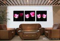 lale boyaları toptan satış-Modern Tulipa Gesneriana Çiçek Boyama Tuval Üzerine Giclee Baskı Duvar Sanatı Ev Dekorasyon Set30381