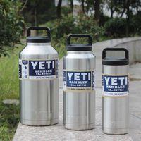 Wholesale Double Wall Bottle - 2016 Hot Sell Yeti 18 oz 36 oz 64 oz YETI Rambler Tumbler Travel Vehicle Beer Mug Double Wall Bilayer Vacuum Insulated