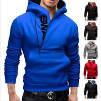 Wholesale Sweater Assassins - Men's Hoodies Letters Printing Men Slim Fleece Side Zipper Hoodies Hoody Jacket Sweater Assassins Creed Size M-6XL Free Shipping
