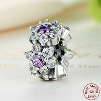 Wholesale Purple Pandora Charms - Forget Me Not Flower Spacers in Sterling Silver with Purple & Clear CZ for Pandora Style DIY Beaded Charm Bracelets S294