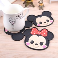 Wholesale Coasters Placemats - Wholesale- Mickey Minnie table Dining table placemats coaster Glass mat pad coffee Silicone heat-resistant cup cartoon coasters CD005