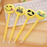 Wholesale plush art material - New Cute Expression Ballpoint Pens Novelty Cartoon Plush Plastic Ballpen Stationery School Office Supplies Material Escolar