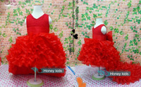Wholesale ball gown tail wedding dress resale online - Flower Girl Dresses Red Chiffon Tailing pageant dresses Girl Summer Dresses For Weddings Party Birthday Dress with Big Bow Years