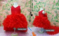12 años cumpleaños vestido chicas al por mayor-Vestidos de niña de flores Vestidos de desfile de cola de gasa roja Vestidos de verano para bodas Fiesta de cumpleaños Vestido con gran lazo 2-12 años