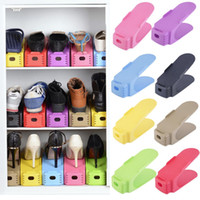 Wholesale Wholesale Plastic Rack - Send within 24hours Simple Shoes Rack Solid Color Plastic Double Layer Stereo Receive Shoes Storage Hanger Saves space