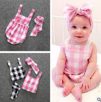 Wholesale Infant Girl Plaid Rompers - 2016 summer INS hot plaid baby rompers button strap Triangle babysuits Sleepsuit headband 2pcs newborn infants romper lovely climing
