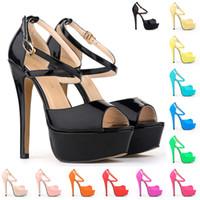 Wholesale Sandals Bridal Open Toe Dress - Sapato Feminino Grils Party Bridal Wedding Patent High Heels Open Toe Shoes Ankle Strap Sandals US SIZE 4-11 D0100