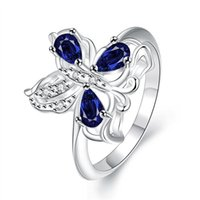 Wholesale 925 Silver Butterfly Ring - Best gift Full Diamond fashion butterfly 925 silver Ring STPR087A brand new blue gemstone sterling silver finger rings