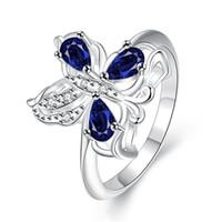 ingrosso anello di diamanti blu-Miglior regalo Full Diamond fashion butterfly Anello in argento 925 STPR087A nuovissimi anelli in argento sterling con gemme blu
