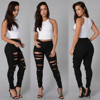 garotas de cintura grande venda por atacado-2019 Novas ganga para mulheres namorado Lápis Skinny Denim Jeans Womens cintura alta rasgado Preto Jeans Big Girls Casual Legging Calças justas
