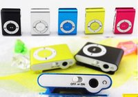 Wholesale Hot Box Free Cable - HOT 8 colors Mini Clip Mp3 player with earphones+usb cables+retail box support Micro SD TF card(1-32GB) Sport Mp3 Free ship
