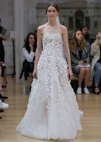 Wholesale Oscar Renta - romantic a line wedding dresses 2017 oscar de la renta bridal strapless straight across neckline heavily embellished bodice chapel train