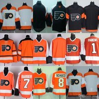 Wholesale Parent Jersey - Factory Outlet Men's Philadelphia Flyers #blank #1 Parent #7 Barber #8 Schultz Black Orange Beige Best Quality ice hockey jerseys free shipp