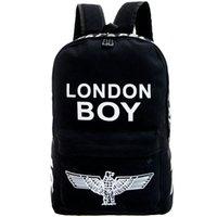 Wholesale Red Boy London - London boy backpack Hip hop school bag Eagle daypack Cool canvas street rucksack Punk design daypack