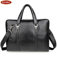 Atacado- Alta Qualidade Genuine Cow Leather Classic <b>Black Men Briefcase</b> Business Handbag Para Masculino 15 polegadas Laptop PR087326
