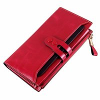 Wholesale Leather Womens Pouch Wallet - New Fashion Womens Wallets Button Genuine Leather Women Coin Purses Casual Long Zip Pouch Clutch Korean Credit Card Holders