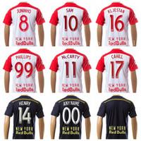 Wholesale Sam Shirt - New York Red 99 PHILLIPS Soccer Jersey 14 HENRY 8 JUNINHO 17 CAHILL Football Shirt 11 McCARTY 10 SAM 16 KLJESTAN 16 LADE Home Black White