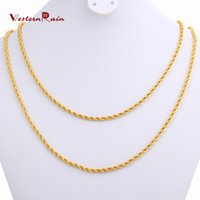 Wholesale WesternRain New Women or Men Chain Long CM CM Size Necklaces Cicrumference mm Gold Plated jewelry F905