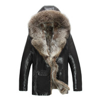 ingrosso cappotti di parka indumenti da uomo-Giacche in vera pelle da uomo Real Raccoon Fur Coat Shearling Inverno Parka Vestiti da neve Caldo Thicking Outwear Plus Size 4XL 5XL