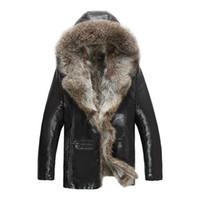 chaquetas de cuero abrigo shearling al por mayor-Para hombre del cuero auténtico ropa chaquetas de piel de mapache real abrigos de piel de oveja de invierno abrigos esquimales nieve caliente Tamaño Thicking Outwear Plus 4XL 5XL