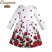 Wholesale Enfant Lace Dresses - Baby Girl Dress Spring Brand Princess Dress Girl Robe Fille Enfant Rose Flower Print Kids Dresses for Girls Clothes 3-8Y