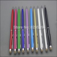 Wholesale Conductive Pen Ipad - Wholesale-2 in 1 tablet stylus precise fiber touch screen conductive fabric cloth pen For iphone 5 ipad SAMSUNG Galaxy S4 I9500 100pcs