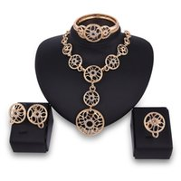 Wholesale Top Halloween Costumes For Women - XSSP08 Top quality Fashion Dubai Jewelry Set Gold-color Romantic Nigerian Wedding African Beads Costume Jewelry Sets For Women