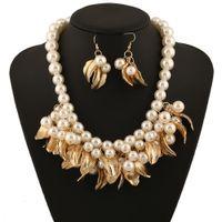 Wholesale Long Diamond Earrings Wedding - 2pcs set Fashion Jewelry Sets Multi-Layered White Imitation Pearl Necklace Long Earrings Women Collar free shipping brand