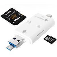 Wholesale External Air - 3in1 Micro USB OTG Card Reader Micro SD SDHC TF SD Card For iPhone 5 5s 6 6 7 plus ipad pro air Samsung LG HTC Andrid OTG Phones