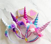 Wholesale Gauze Hair Flower - 2017 New Baby Party Headbands Unicorn Gauze Flower Hair Band Girl Animals Hair Sticks Birthday Girls Cosplay Hair Accessories A7271
