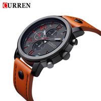 Wholesale luminous watches for men - CURREN Men's Military Watches Soft Leather Band Man Luminous Sport Watch Analog Quartz Wrist Watch for Mens