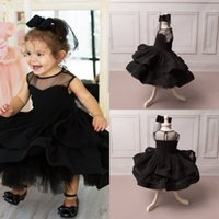 Wholesale Make Wedding Headpieces - Princess Black Flower Girls Dresses For Wedding With Headpiece Tiered Ball Gowns Tulle Long Sleeves Free Shipping Communion Dres