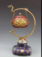 China Bronze Cloisonne Enamel Dragon Forno suspenso Incense Burner Censer