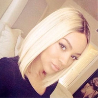 Wholesale Hair Wigs Short Blond - New Fashion Lace Front Wigs Two Tone #1bT#613 Ombre Black&blonde 12inch Straight Short Bob Style Synthetic Heat Resistant Blond Hair wigs