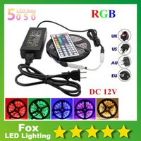 Wholesale Led 12v 75w - 300 LEDs SMD 5050 RGB led strip waterproof ip65 led light strips 60 LEDs M+ 44Keys With Mini Adapter + 12V 6A Power Supply