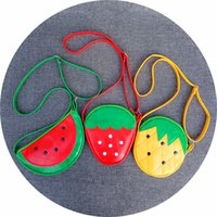 Wholesale Strawberry Coin - Children Shoulder Bags Cute Cartoon Fruit Cross Body Bags Fashion PU Bag Strawberry Pineapple Watermelon Kid's Coin Purse A7880