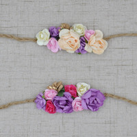 Wholesale Headband Small Girls - Baby Girl Flax Headband Matching Small Paper Flowers and Golden Flower Hair Accessories Newborn Photography Props 20pcs lot QueenBaby