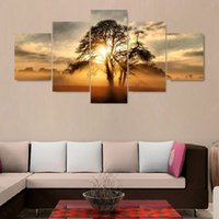 Wholesale Wall Scenery Pictures - 5 Piece Modern Cuadros Decoracion Canvas Art Sunset Scenery Canvas Oil Painting Art Pintura Wall Pictures For Living Room